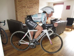 Posing on TT bike indoors